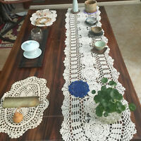 Cotton Lace Hand Crochet Doily Placemat Table Runner Home Kitchen Party Decor