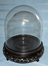 """Vtg 7"""" Glass Dome Display Case w/ Ornate Oriental Footed Wood Base"""