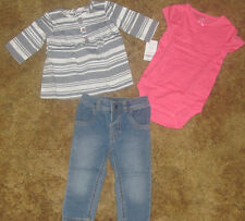 Girls Carter's NWT 3 piece set with shirt, bodysuit, and pants size 12 months