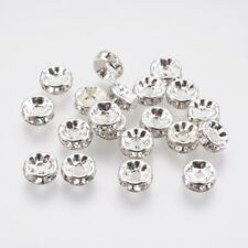 20 x 8mm Clear Crystal Rhinestone Brass Spacer Beads