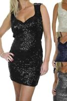icecoolfashion Womens Stretch Bodycon Sequins Mini Dress Padded Cup 6-12
