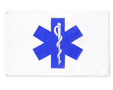 3x5 Star Of Life EMS Flag Made In The USA From SolarMax 200 Denier Nylon