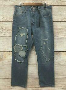 Brooklyn Xpress Jeans Mens 36X34 Rip Repaired Stitched Slim Straight Fit New