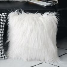 "18"" White Faux Fur Plush Pillow Cover Fluffy Sofa Cushion Cover Christmas Decor"