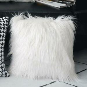 "18"" White Faux Fur Plush Pillow Cover Fluffy Sofa Cushion Cover Christmas Decor"