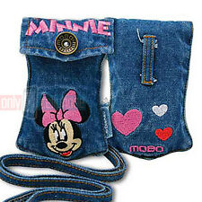 Disney Embroidered MINNIE Universal Jean Pouch Case for iPhone 5s 5 4 MP3 iPod