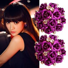 Pretty Women Girls Elegant Chic Rose Flower Crystal Rhinestone Ear Stud Earring