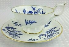 Coalport Bone China Blue & White Floral Cabinet Display Tea Cup & Saucer Vintage