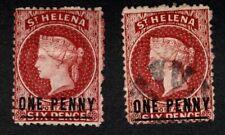 St Helena 1871 SG8 1d Lake S'd One Penny (Type C) Wmk Crown CC MM&FU Cat £157.00