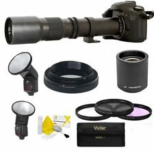 SPORTS ACTION  ZOOM LENS 500-1000MM + PRO FLASH FOR NIKON D3000 D3100 D3200 D90