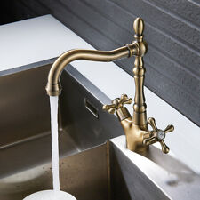 EVERSO Kitchen Sink Mixer Taps Basin Georgian Bronze Twin Lever Traditional Tap