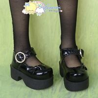 Platform Heel Bow Mary Jane Shoes Patent Black for SD Girl Dollfie BJD Dolls