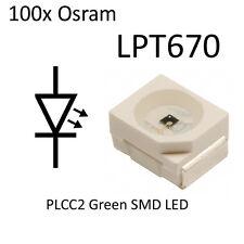 100x Osram LED SMD Green LP T670 PLCC2 LPT670 On Tape