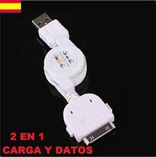 CABLE USB RETRACTIL DE DATOS CARGADOR BLANCO PARA TELEFONO IPHONE 3-4G IPAD IPOD