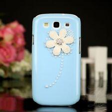 Samsung Galaxy S3 NEO Hard Case Tasche Cover Hülle Etui Perle Steine Blau 3D
