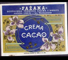 """ETIQUETTE ANCIENNE de Liqueur """"FAZANA"""" GREME de CACAO / illustrée FLEURS en 1954"""