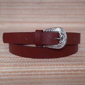 Women's Skinny Waistband Belt, Ladies Real Leather Thin Buckle Belt 22mm Width