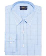 Nwt $93 Club Room Men Regular-Fit Blue White Check Cotton Dress Shirt 16 32/33 L