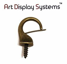Art Display Systems Large Antique Brass Security Cup Hook–Pro Quality–15 Pack