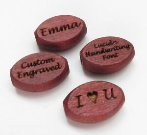 10x15mm Mahogany Colored Oval Flat Wood Beads - Custom Engraved or Personalized