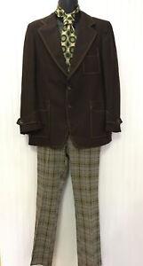 Vintage Authentic 1970s Mens Leisure Suit Set Coat 38 Plaid Pants 32 Tie