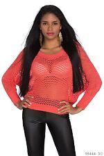 Sexy Langarm Transparent Strickpullover Strick Shirt Pulli Coral  Rot 34 36 38