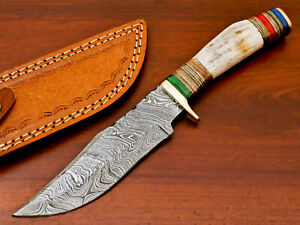 HAND FORGED DAMASCUS STEEL HUNTING KNIFE-STAG ANTLER HANDLE-AD-8486
