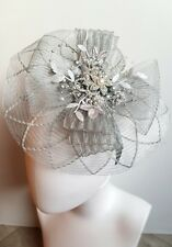 mother of the bride fascinator,silver,wedding,most colours made to match outfit