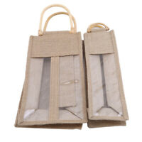 Burlap Jute Wine Pouches  And Two Bottles Wedding Party Favor Gift Small Bag G