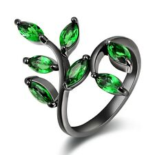 Size 6,7,8,9,10 Womens Cute Emerald Black Gold Filled Fashion Wedding Rings