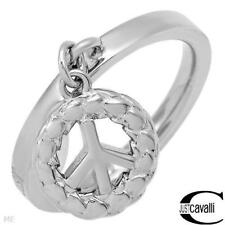JUST CAVALLI  Lucky Collection Peace Symbol Ring in Silver Base Metal, Size 14mm