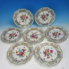 Bavaria Schumann Dresden - Dresden Flowers - 7 Reticulated Dinner Plates - 10½""