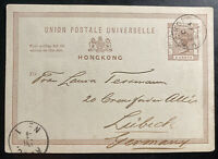 1891 Hong Kong Postal Stationery Postcard Cover to Lubeck Germany