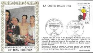 2699+FDC ENVELOPPE1er JOUR ROLAND GARROS COUPE DAVIS NOAH FORGET LECONTE BOROTRA