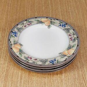"MIKASA Intaglio GARDEN HARVEST CAC29 8⅜"" Salad Plates (4) *XLNT EUC*"