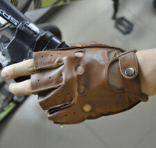 Men's Genuine Leather Half Finger Sports Gloves Stage Dancing MTB Bicycle Glove