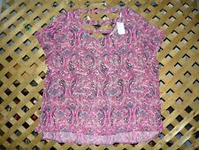 Sel Esteem Pink & Black Designed Paisley Polyester Tunic Top Plus Size 3X NWT!