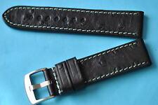 strong bracelet de montre Strauss estampage 22mm noir avec verte couture