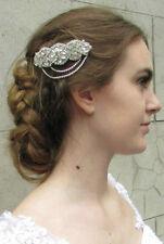 Silver Rhinestone Barrette Hair Clip Bridal Vintage Headpiece 1920s Diamante 4AT