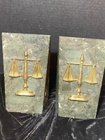 NOYMER HEAVY SOLID MARBLE SCALES OF JUSTICE LEGAL LAWYER JUDGE BOOKENDS PAKISTAN