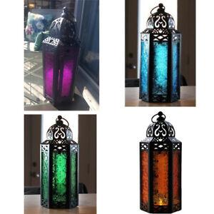 Glass Candle Lantern Lamp Holder Metal Tealight Centerpiece Garden Patio Decor