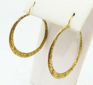 18K Yellow Gold ~1.5MM Wide Repoussed Large Hoop Earrings w/ 14K Wires