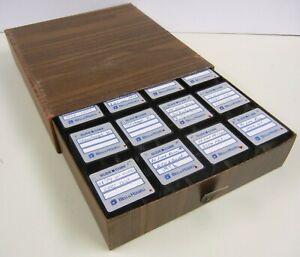 Vtg LOT of 16 Bell & Howell 35mm SLIDE CUBE Cartridges 2x2 STORAGE BOXES w/ Case