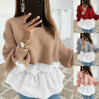 Women Long Sleeve Frill Ruffle Tops Ladies Casual Loose Pullover T Shirt Blouse
