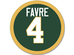 4x4 inch Round FAVRE # 4 Sticker - decal green bay number packers football brett