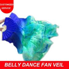 New Arrival Tie-dyed Belly Dance Fan Veils for Women long 100% Real Silk Fans