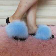 Women's Faux Fur Slippers Fuzzy Slides Fluffy Sandals Open Toe Size US12 Skybule