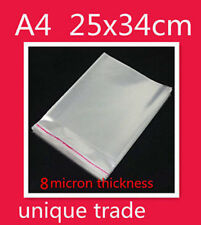 50 A4 25x34CM Cello Bags Self Adhesive Resealable Plastic Cellophane Bags THICK