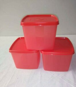 Tupperware Square Round Freeze It Container RED COLOR SET OF 3 - New