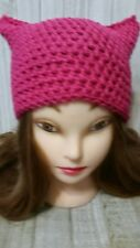 Shocking pink kitty pussy cat ears chunky hat crochet womans hand made beanie